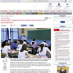 Informe PISA: Argentina tiene los alumnos menos felices y de peor rendimiento