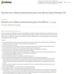 Rendre ses vidéos interactives pour ses élèves dans Partage TIC