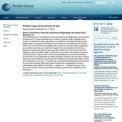 MERID 01/11/12 Rendre l'orge plus économe en eau