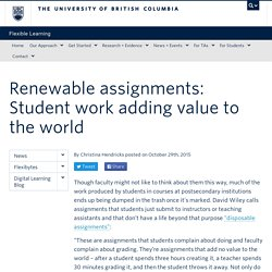 Renewable assignments: Student work adding value to the world