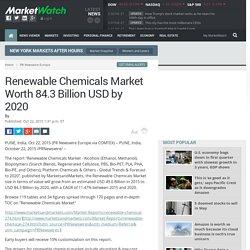 Renewable Chemicals Market Worth 84.3 Billion USD by 2020