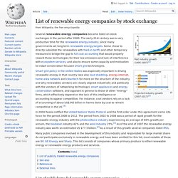 List of renewable energy companies by stock exchange - Wikipedia