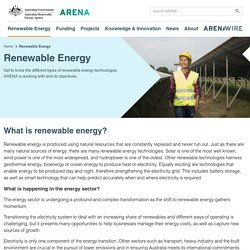What is renewable energy - Australian Renewable Energy Agency (ARENA)