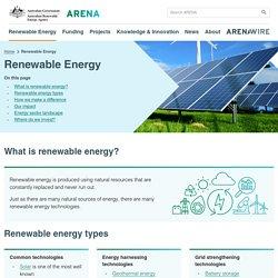 What is renewable energy - Australian Renewable Energy Agency (ARENA)