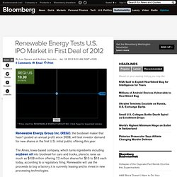 Renewable Energy Tests U.S. IPO Market in First Deal of 2012