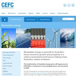 Renewable energy - Clean Energy Finance Corporation