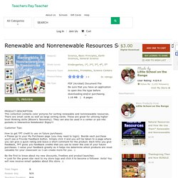 Renewable and Nonrenewable Resources Sort... by Little School on the Range