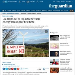 UK drops out of top 10 renewable energy ranking for first time