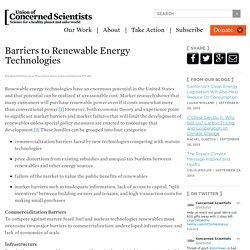 Barriers to Renewable Energy Technologies