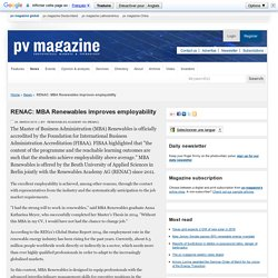 RENAC: MBA Renewables improves employability: pv-magazine