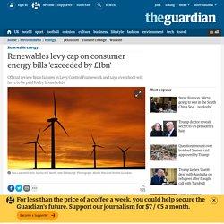 Renewables levy cap on consumer energy bills 'exceeded by £1bn'