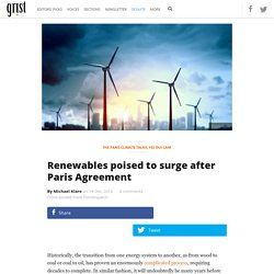 Renewables poised to surge after Paris Agreement