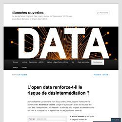 L'open data renforce-t-il le risque de désintermédiation