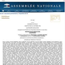 ASSEMBLEE NATIONALE 13/06/13 PROPOSITION DE RÉSOLUTION EUROPÉENNE tendant au renforcement de l'étiquetage des produits agrico