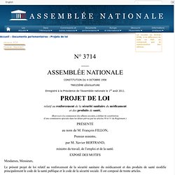 3714 - Projet de loi relatif au renforcement de la sécurité sanitaire du médicament et des produits de santé