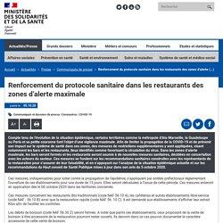 Renforcement du protocole sanitaire dans les restaurants des zones d'alerte maximale