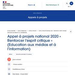 Appel à projets national 2020 « Renforcer l'esprit critique » (Education aux médias et à l'information)