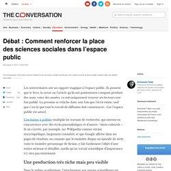 Débat: Comment renforcer laplace dessciences sociales dansl'espace public