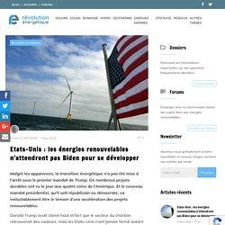 Etats-Unis : les énergies renouvelables n'attendront pas Biden pour se développer