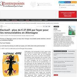 Plus de 27 000 € par foyer pour les renouvelables en Allemagne