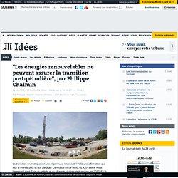 """""""Les énergies renouvelables ne peuvent assurer la transition post-pétrolière"""", par Philippe Chalmin"""