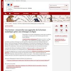 Une lecture : renouveler son approche de la lecture analytique grâce aux échanges en ligne-Lettres-Éduscol