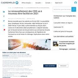 Renouvellement CDD 2021 : les règles assouplies pendant le Coronavirus