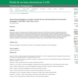 """Renovación pedagógica en Aragón: estudio del caso del movimiento de renovación pedagógica """"Aula Libre"""" entre 1975 y 2012"""