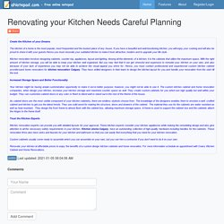 Renovating your Kitchen Needs Careful Planning