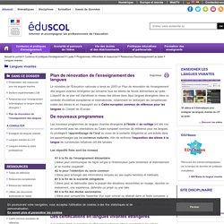 Langues vivantes - Plan de rénovation de l'enseignement des langues