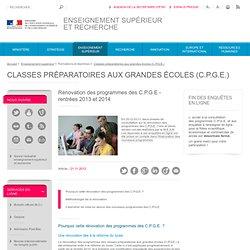 Rénovation des programmes des C.P.G.E - rentrée 2013