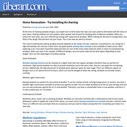Home Renovation - Try Installing An Awning