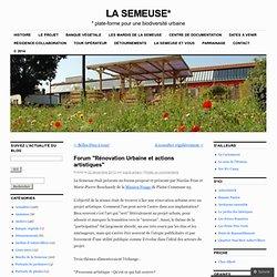 """Forum """"Rénovation Urbaine et actions artistiques"""""""