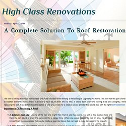 A Complete Solution To Roof Restoration
