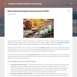 Most renowned homeopathic learning courses at CNHH