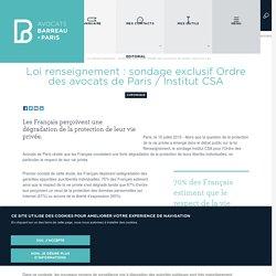 Loi renseignement : sondage exclusif Ordre des avocats de Paris / Institut CSA