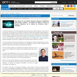 Loi sur le renseignement: l'avis made in France d'un hébergeur