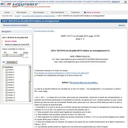 LOI n° 2015-912 du 24 juillet 2015 relative au renseignement