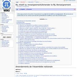 PJL relatif au renseignement/Amender le PJL Renseignement