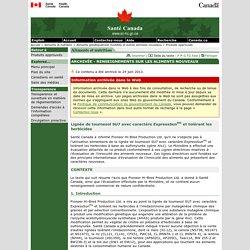 SANTE CANADA 24/06/13 Lignée de tournesol SU7 avec caractère ExpressSunmc et tolérant les herbicides