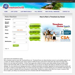 How to Rent a Timeshare by Owner