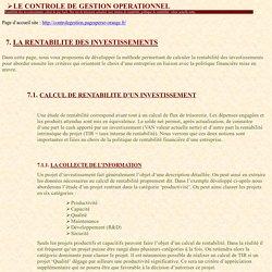 RENTABILITE DES INVESTISSEMENTS