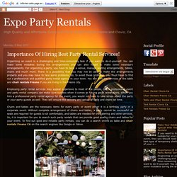 Expo Party Rentals: Importance Of Hiring Best Party Rental Services!