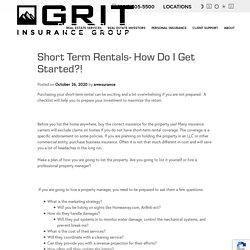 Short Term Rentals- How do I get started?! - GRIT Insurance Group