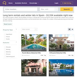Long term rentals and winter lets in Spain from €285/month