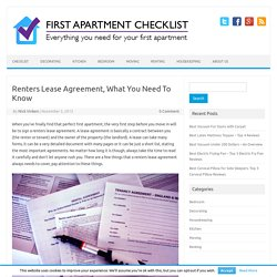 Renters Lease Agreement, What You Need To Know