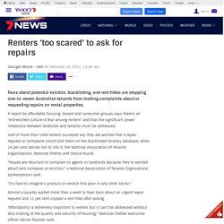Renters too scared to ask for repairs