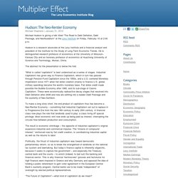 Hudson: The Neo-Rentier Economy « Multiplier Effect
