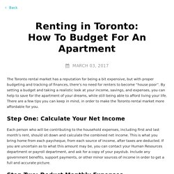 Renting in Toronto: How To Budget For An Apartment
