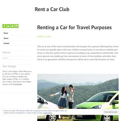 Renting a Car for Travel Purposes